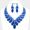 Sapphire Crystal Oval Stone Statement Necklace | 380624