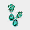 Small Emerald Crystal Clip On Dangle Earrings | 412380