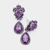 Small Purple Crystal Clip On Dangle Earrings | 415434