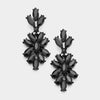 Black Crystal Oval Cluster Vine Pageant Earrings | 366850