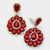 Large Red Pageant Earrings | Clip On | 290350