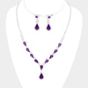 Purple Crystal Teardrop Accented Rhinestone Prom Necklace | 419933