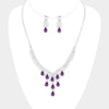 Purple Multi Teardrop Rhinestone Prom Necklace | 407578