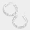 Two Row Crystal Hoop Earrings | 1.7"