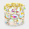 Wide Multi Shape AB Crystal Stone Stretch Pageant Bracelet on Gold | 380670