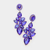 Sapphire Crystal Teardrop Cluster Dangle Pageant Prom Earrings | 412160