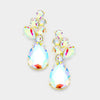 AB Crystal Teardrop Cluster Pageant Earrings on Gold | 376272