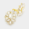 Crystal Flower Clip On Earrings Gold | 347072