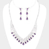 Purple Crystal Teardrop Rhinestone Prom Pageant Necklace | 412049