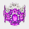 Wide Purple Crystal Rhinestone Stretch Bracelet | 419006