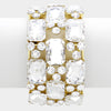 Emerald Cut Crystal Stretch Bracelet on Gold | 317667