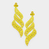 Long Yellow Crystal Statement Earrings on Gold | 433432