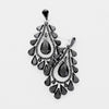 Black Crystal Teardrop Dangle Pageant Earrings | 413584