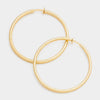 Textured Gold Clip on Hoop Earrings | 3.25"