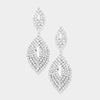 Large Pave Crystal Double Oval Pageant Earrings | 370604