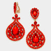Red Chandelier Earrings | Clip On | 418359