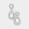 Little Girls Double Crystal Teardrop Clip On Earrings | 379520