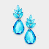 Aqua Crystal Leaf Teardrop Dangle Pageant Earrings | 381568