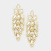Long Crystal Marquise Earrings on Gold | 347043