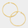 Gold Textured Metal Clip On Hoop Earrings | 3"