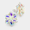 AB Crystal Flower Clip On Earrings | 239094