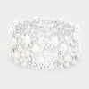 Wide Crystal and White Pearl Stretch Wedding Bracelet | 421010