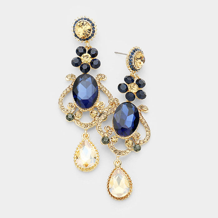 03a26fb56 Floral Teardrop Navy and Gold Crystal Chandelier Pageant Prom Earrings    405104