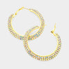 Two Row AB Crystal Hoop Earrings on Gold | 2"
