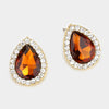 Topaz Rhinestone Teardrop Stud Earrings | 326066