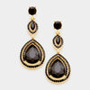 Double Teardrop Black Crystal Earrings | 358422