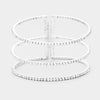 3 Row Split Layer Round Crystal Cuff Bracelet | 397421