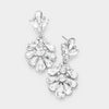 Little Girls Crystal Cluster Teardrop Pageant Earrings | 402711
