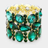 Wide Multi Shape Emerald Crystal Stone Stretch Pageant Bracelet | 398320