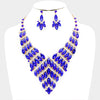 Oval Sapphire Crystal Cluster Pageant Statement Necklace Set | 400998