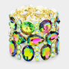 Wide Multi Shape Multi Color Crystal Stone Stretch Pageant Bracelet | 398321
