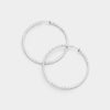 Silver Textured Clip On Hoop Earrings | 1.75"
