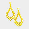 Oversized Cut Out Yellow Crystal Teardrop Earrings | 429773