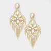 Very Large AB Crystal Flower Fringe Earrings on Gold | 368829