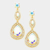 AB Double Teardrop Earrings on Gold | 277182