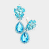 Small Aqua Crystal Clip On Dangle Earrings | 415433