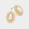 Pave Trimmed White Pearl Stud Earrings on Gold | 267057