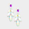 Little Girls Drop Leaf AB Crystal Pageant Earrings | 381562