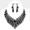 Black Crystal Cluster Statement Pageant Evening Necklace | 404355
