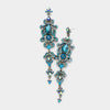 Long Teal Crystal Pageant Head Shot Earrings | 308663