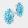 Large Clip on Aqua Crystal Earrings | 333158