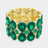 Double Teardrop Emerald Crystal Stretch Bracelet  | 358388