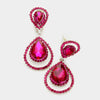 Fuchsia Crystal Surround Clip On Earrings | 341523