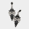 Black Crystal Butterfly Statement Earrings | 413496