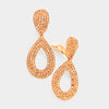 Peach Rhinestone Cut Out Teardrop Clip On Earrings | 366576