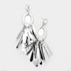 Silver Oval Hoop Sequin Fringe Fun Fashion Pageant Earrings | 402263